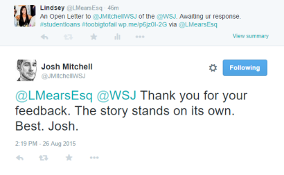 J Mitchell Response 1